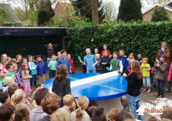Table de ping-pong bleue ronde